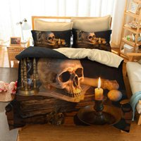 Wholesale king size skull bedding online - 3 Styles Skull D Printed Twin King Size Bedding Sets Bed Sheets Queen Bedding Sets King Size Comforter Set
