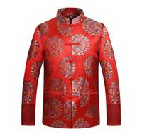 ingrosso giacca cinese drago-Tailleur cinese tradizionale dei vestiti del drago del vestito di Tang / rivestimento del ricamo del collare del mandarino del bottone orientale di Phoenix