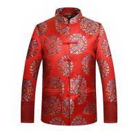 traditioneller chinesischer kragen großhandel-Tang-Anzug-Jacke chinesische traditionelle Kleidung Dragon / Phoenix Stickerei orientalische Taste oben Stehkragen Hochzeitsanzug