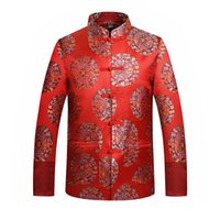 Wholesale dragon tang suit resale online - Tang Suit Jacket Chinese Traditional Clothes Dragon Phoenix Embroidery Oriental Button Up Mandarin Collar Wedding Suit