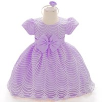 подарки на день рождения принцессы оптовых-Infant Party Dresses Summer Baby Girls Princess Dress Baby Girls Christmas Gift Ball Gown Newborn 1 Year Birthday Dress