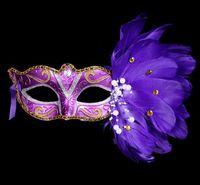halloween tüy göz maskeleri toptan satış-Seksi Lady Maske Göz Maskesi Gece Kulübü Moda Renkli Tüy Parti Maskeleri Aksesuarları Masquerade Parti Cadılar Bayramı Partisi Fantezi Damla nakliye