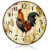 Wholesale Clocks European Vintage - Gosear Primitive European-styled Country Rooster Wood Wall Mounted Clock Vintage relojes pared relogio de parede Home Decoration