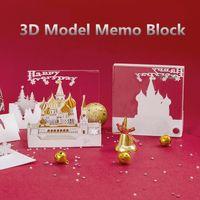 sevgililer için en iyi yılbaşı hediye toptan satış-Yeni Yaratıcı Kağıt Siluet Hediyeler Snowhouse Kale Tasarım 3D Modeli Memo Blok Kız Arkadaşı Için En Iyi Noel Dekoratif Presents / Çocuk