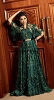 arabic kaftan toptan satış-Hunter Koyu Yeşil Örgün Abiye Uzun Kollu 2019 Dubai Arapça Müslüman Kaftan Abaya 3D Çiçekli Dantel Durum Balo Elbise