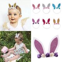 Wholesale Ear Flowers - Baby Girls Easter Bunny Ears Headband Kids Flowers Fashion Rabbit Ear Hair Sticks Infant Baby Cute Hairbow