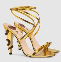 pembe açık topuklu ayakkabılar toptan satış-Moda marka sandalet kadınlar seksi Yılan Yüksek Topuklar Altın Pembe Yeşil Siyah Yay-düğüm Sandalias Çapraz bağladılar Açık Ayak Gladyatör Stilettos AB 43