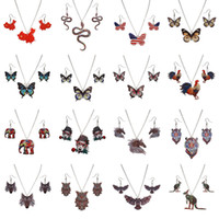 Wholesale lion earrings necklace sets - Animal Necklace Earrings Jewelry Set Multicolor Thermal Transfer Lion Elephant Butterfly Horse Pendants Necklace Fashion Jewelry Dropship