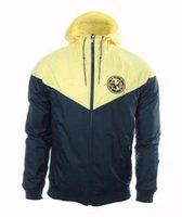 Wholesale America Jacket - 17 18 Club America Yellow Authentic Windrunner Hoodie Best Quality Chamarra Rompevientos America Jacket America Yellow Training Hoodie