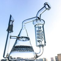 Wholesale condenser coils - Vortex Recycler Glass Bong Tornado Condenser Coil Perc Honeycomb Turbine Disc Perc Bent Neck Wax Bong Beaker Base Dab Rig Water Pipe WP238