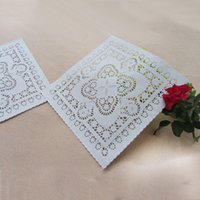 Wholesale cake doilies - 10inch 25cm 200pcs Square white lace paper mat doilies for cake pastry Absorb oil paper party tableware decoration placemat