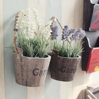 Wholesale Wholesale Wooden Flower Vases - Free Shipping ! 2pcs  Lot Round Wooden Pot With Lavender Flowers Hangable Wall Wooden Vase With Flower Home &Garden Decor