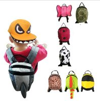 çocuk sırt çantaları toptan satış-Yürüyor Emniyet Sırt Çantası Anti-kayıp Kayış Çocuk Güvenliği Hayvan Yürüyor Okul Çantaları Karikatür Çocuk Yürüyüş Sırt Çantaları Satchel Çanta KKA4216