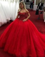Wholesale sequin art patterns for sale - 2018 Bling Quinceanera Ball Gown Dresses Off Shoulder Beaded Crystal Sweet Arabic Long Tulle Puffy Plus Size Party Prom Evening Gowns