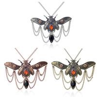 ingrosso gioielli europee grandi-Europa Stati Uniti Nuova vendita calda Steampunk strass Crystal Big Beetle Collana Steampunk Uomo Donna gioielli tre colori regalo opzionale