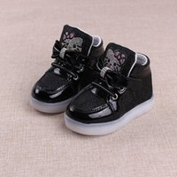Wholesale children shoes kitty for sale - Group buy 2018 New Child Casual Shoes with Light Spring Autumn Baby Boys Girls LED light Shoes Kids Fashion Hello Kitty Girls Sneakers