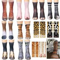 huf stil großhandel-3D Tier Fuß Huf Socken Cosplay Printed Katze Hund Tiger Pfote Füße Socken Für Erwachsene Kinder Weihnachten Hause Warme Strumpf Geschenke 13 Styles mk589