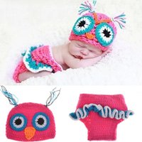 Wholesale baby shooting - Owl Design Newborn Costume Photography Props Hand Made Crochet Baby Photo Shoot Clothes for 0-3 Months 1 Set free shipping