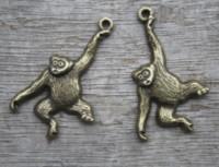 Wholesale monkey jewelry charms resale online - 15 Chimpanzee Monkey Chimpanzee Pendant Animal Charm Silver Bronze Supplies Jewelry Making Findings MM