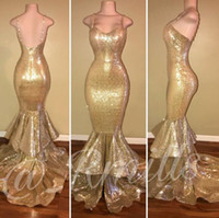 Wholesale Spaghetti Strap Champagne Prom Dresses - Golden Spaghetti Straps Sequined Mermaid Long Prom Dresses Beaded Layered Ruff Backless Evening Gowns Long Formal Party Dresses