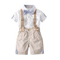ingrosso babys si inchina-Babys Set di abbigliamento Ragazzi Shirt Bretelle shorts Kit Con papillon Estate Gentleman Cotone Pantaloncini Camicia Abiti Spedizione Gratuita B0205