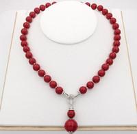 12mm rote perlen halsketten großhandel-Hand geknotet charmant 7 Stile 12mm weiß / schwarz / gelb / lila / rot / pink / grau natürliche Shell Perle Anhänger Halskette 45cm
