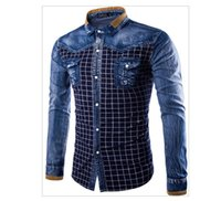 Wholesale Wash Denim Shirt - Fashion Men Denim Shirts Long Sleeve Camisa Masculina Denim Blue Plaid Shirt Casual Retro Washed Blouses Chemise Homme M-3XL