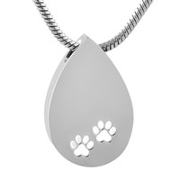 Wholesale paw print necklaces resale online - IJD9582 Pet Keepsake Necklace Free Engrave Name Stainless Steel Dog Cat Paw Print Teardrop Cremation Urn for Ashes Jewelry