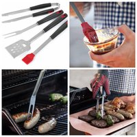 Wholesale bbq tool sets for sale - Group buy Stainless Steel Barbecue Tong Brush Fork BBQ Grill Tool Set Steak Fork Roasting Grill Tools Outdoor Gardgets Sets OOA5041