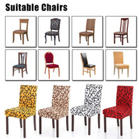 Spandex Stretch Chair Covers Elastic Floral Printing Washable Chair Seat Cover Slipcovers Soft Silk For Dining Room Wedding Banquet Party