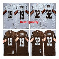 Wholesale Cheap American Football Shirts - NCAA Throwback Bernie Kosar Jerseys American College football shirts Retro mens jim brown wears Coffee white grey size cheap wholesale color