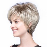 ingrosso parrucche naturali sintetiche-Fashion Short Lady's Wig Synthetic Celebrity Haircut Parrucche sintetiche per donne dall'aspetto naturale