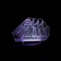 Wholesale chinese style table lamps - 3D Retro Ancient Sailing Sea Boat Ship LED Lamp Chinese Style Multicolor Illusion Night Light USB Table Desk Decor