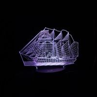 barcos chineses venda por atacado-3D Retro Antiga Vela Barco Mar Navio LEVOU Lâmpada Estilo Chinês Ilusão Multicolor Night Light Mesa USB Mesa Decoração