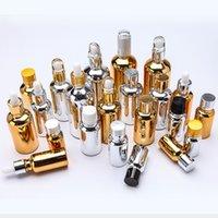 tapa de la botella de aceite de aluminio al por mayor-5 ml 10 ml 15 ml 20 ml 30 ml 50 ml 100 ml de tapa de aluminio cuentagotas galvanoplastia botellas de oro de oro botellas de jugo de oro 30 ml botella de aceite esencial