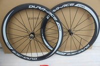 Wholesale 26 Bicycle Wheel Front - 700C Racing Bicycle carbon wheels 50mm Carbon Road Bike Wheelset clincher 23mm width with basalt brake surface