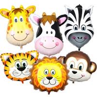 ingrosso decorazioni della camera zebra-Cute Cartoon Animal Foil Balloon Tiger Zebra Lion Cow Scimmia Giraffa Testa decorazione per Kid Room Birthday Festival Party