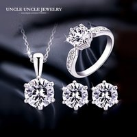Wholesale Wedding Arrow - Classic White Gold Color Hearts and Arrows AAA Clear Cubic Zirconia Inlay Woman Engagement Jewelry Set Wholesale Prefect Gift