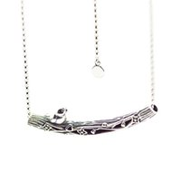 украшения для дня матери оптовых-Authentic Silver 925 Jewelry Spring Bird Curved Bar Necklace & Pendant Sterling Silver Necklace for Women 2018 Mothers Day