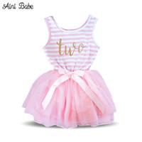 ingrosso vestiti di compleanno per le ragazze dei neonati-Aini Babe Toddler Baby Dress Princess Prima Comunione battesimo Vestiti per bambini 1 anno Compleanno Neonate Abiti infantile 2 anni