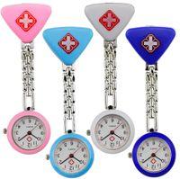 Wholesale nursing medical watch clip resale online - Fashion ladies women nurse watches Triangle cross design unisex doctor medical FOB pocket hang clip quartz nice watch