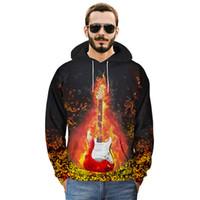 ingrosso grande stampa 3d-European Size Hipster Felpa con cappuccio Felpe Uomo Novità Big Tall Felpa con cappuccio Divertente 3D Guitar Fire Print Hoody Pullover Felpe Uomo