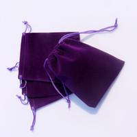 pendientes de amatista collar al por mayor-AMETHYST 3 tamaños de regalo de la bolsa de terciopelo de la joyería paquete de regalo apto para collar pulsera pendiente Navidad Bolsas