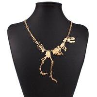 chaînes funky achat en gros de-En gros Nouveau Style Punk Gothique Tyrannosaure Rex Squelette Dinosaure Collier Os Funky Chaîne Pendentif Argent Couleur