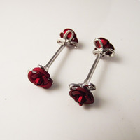 2 Piece Crystal Nipple ring Rose Flower Nipple Shield Rings Body Piercing Jewelry Double Red Flower Women Gift