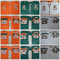 miami football achat en gros de-Hommes College Football Miami Hurricanes Maillots Broderie 15 Brad Kaaya 20 Ed Reed 52 Ray Lewis 26 Sean Taylor Vert Orange Blanc Top Qualité