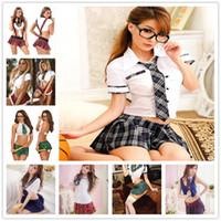 lingerie uniforme meninas sexy venda por atacado-Mulheres Lingerie Sexy Uniformes Tentação Estudantes Mulheres Uniforme Cosplay Japão Traje Da Menina Da Escola Pura Saia 2018