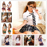 Wholesale japan dresses sleeves for sale - Women Sexy Lingerie Uniforms Temptation Students Women Japan Uniform Cosplay Pure School Girl Costume Nightwear Skirt