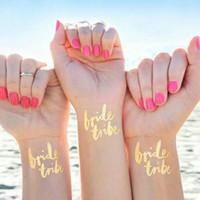 Wholesale flash photos for sale - Team Bride Tattoo Stickers Golden Flash Flamingo Pineapple For Wedding Decor Single Party Supplies Photo Fashion hj BB