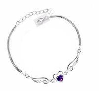 bracelet en acier 925 en argent sterling achat en gros de-Bracelet en argent sterling 925 Bracelet ange ailes amour coeur avec cristaux autrichiens pour femme Bracelet breloque